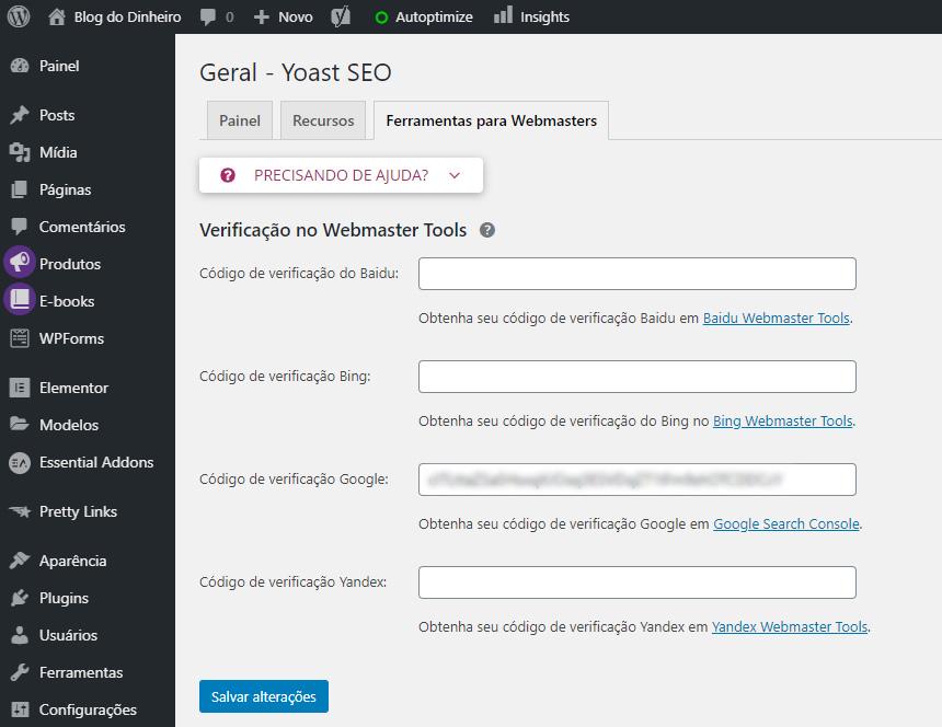 Yoast SEO blogdodinheiro 1 - SEO para iniciantes no WordPress: como configurar e otimizar seu blog em 2020