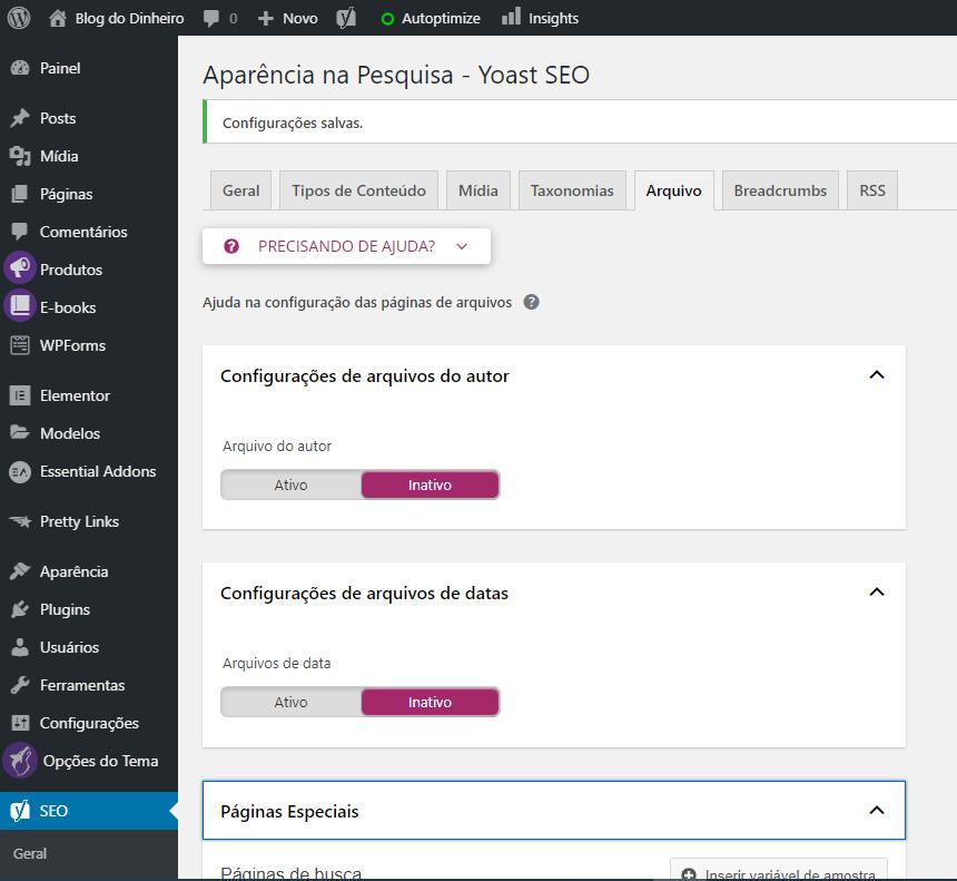 arquivo autor datas blogdodinheiro 1 - SEO para iniciantes no WordPress: como configurar e otimizar seu blog em 2020