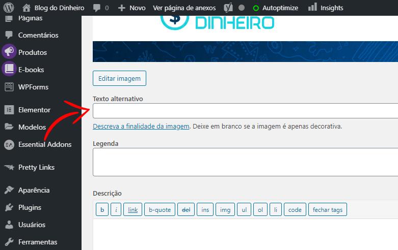 editar imagem texto alternativo blogdodinheiro 1 - SEO para iniciantes no WordPress: como configurar e otimizar seu blog em 2020