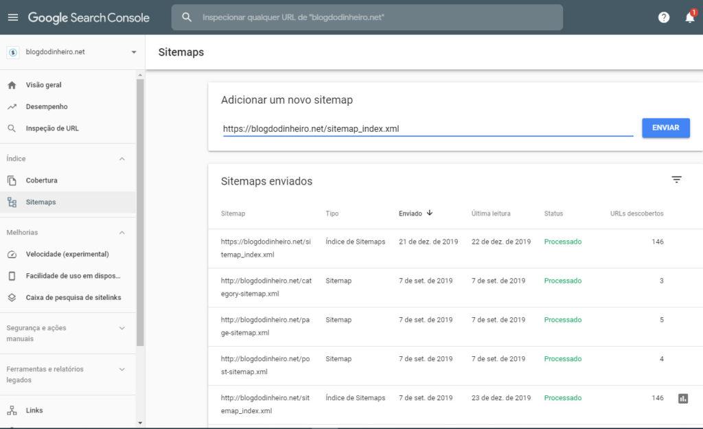 sitemaps blogdodinheiro 1 1024x625 - SEO para iniciantes no WordPress: como configurar e otimizar seu blog em 2020