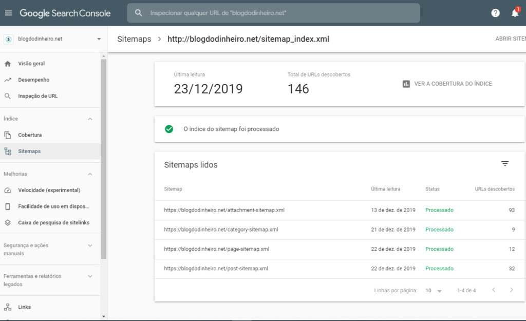 sitemaps enviados blogdodinheiro 1 1024x625 - SEO para iniciantes no WordPress: como configurar e otimizar seu blog em 2020
