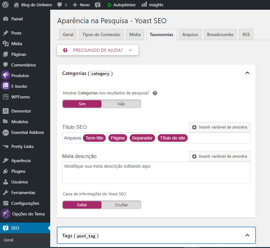taxonomias blogdodinheiro 1 - SEO para iniciantes no WordPress: como configurar e otimizar seu blog em 2020