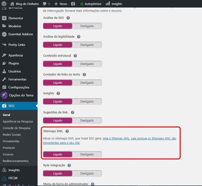 xml ativado blogdodinheiro 1 - SEO para iniciantes no WordPress: como configurar e otimizar seu blog em 2020